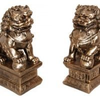 Temple Lions Statue Pair Antique Gold