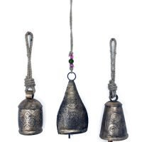 3 x Metal Cow Bell Etched Hanging Door Bell