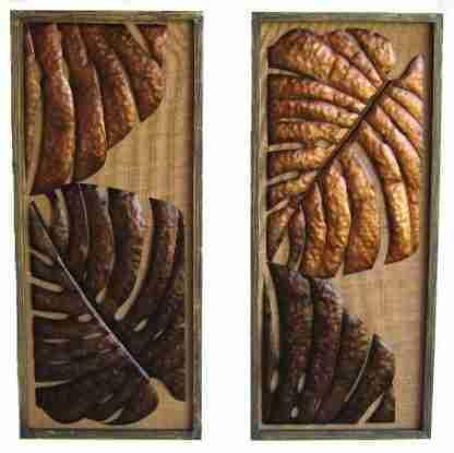 tropical-leaves-wall-art-hanging-large-pair-brown-81cm