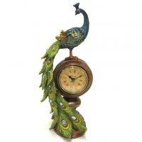 Peacock Ornament Clock Statue Garden Bird