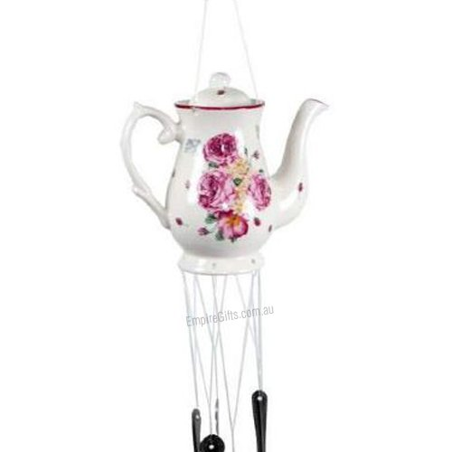 1 X Teapot Wind Chime With Silver Spoons Victorian Rose