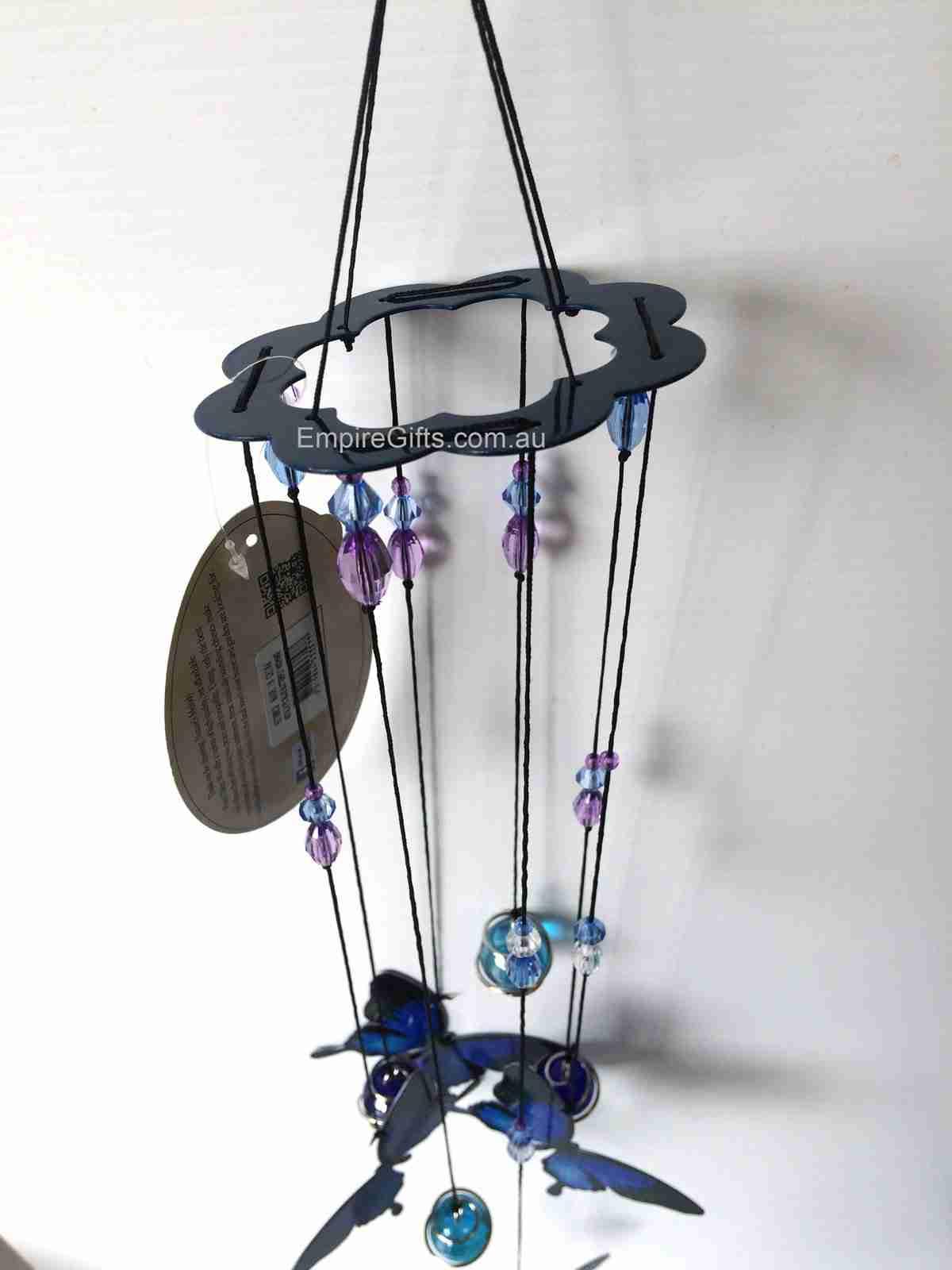 1 x butterfly blue ulysses metal wind chime 5pc mobile. Black Bedroom Furniture Sets. Home Design Ideas