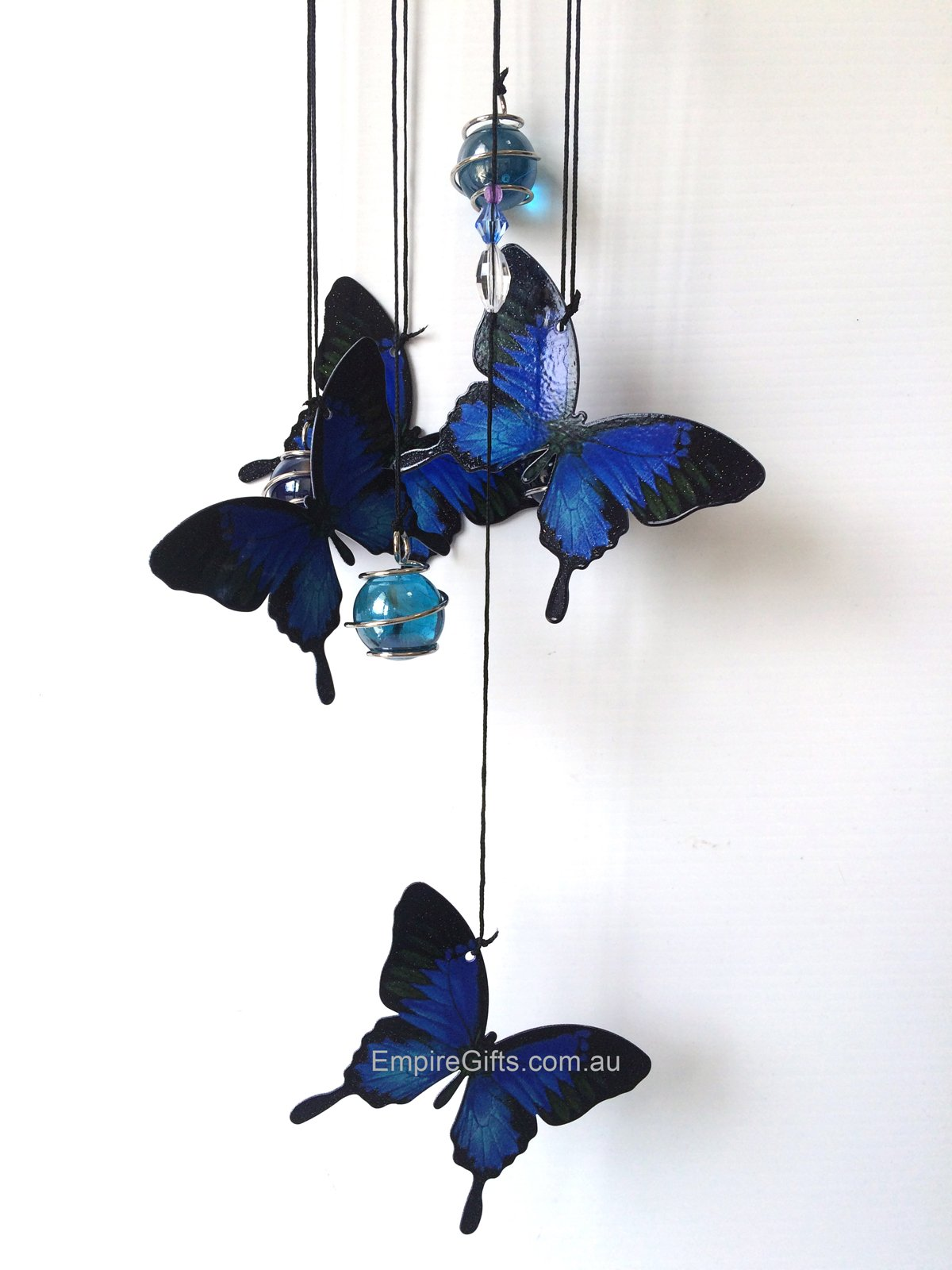 1 X Butterfly Blue Ulysses Metal Wind Chime 5pc Mobile