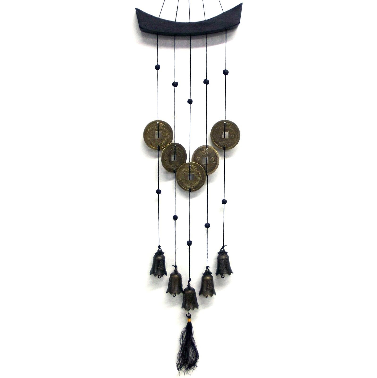 1 x metal wind chime feng shui bells money coins hanging mobile sh61 empire gifts. Black Bedroom Furniture Sets. Home Design Ideas