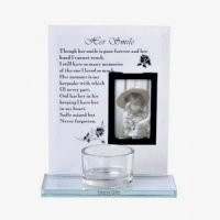 Memorial Plaque with Candle holder Picture Her Smile