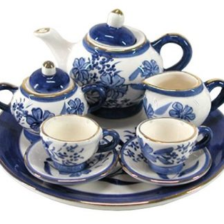 10pc Mini Teaset Blue Cherry Blossom Collectable