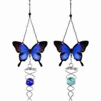 1 x Butterfly Spinner Blue Ulysses Metal Garden Hanging