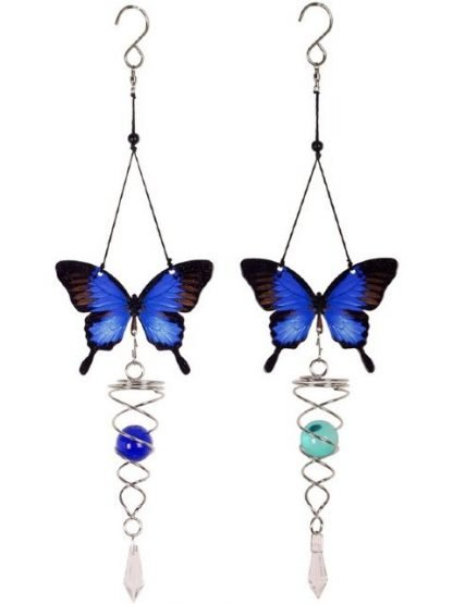 1 x Butterfly Spinner Blue Ulysses Metal Garden Hanging