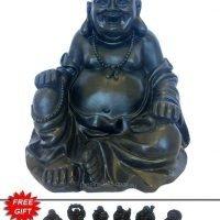 Laughing Buddha Statue Black Large - Free Buddha Gift