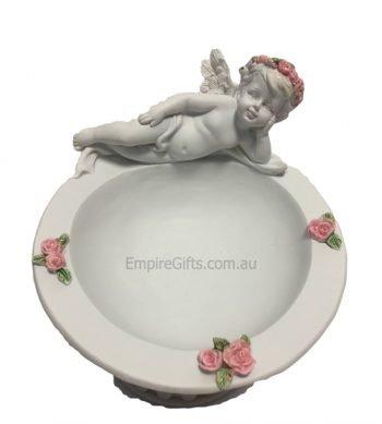 1pc Angel Cherub on Rose Pedestal Bowl
