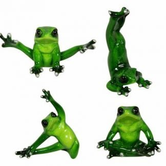 4pc Yoga Posing Frog Figurines Marble Look SET