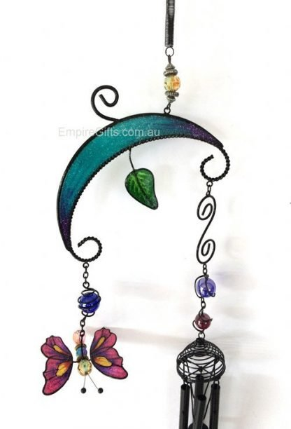 Butterfly Pink Wind Chime Blue Garden Hanging Mobile