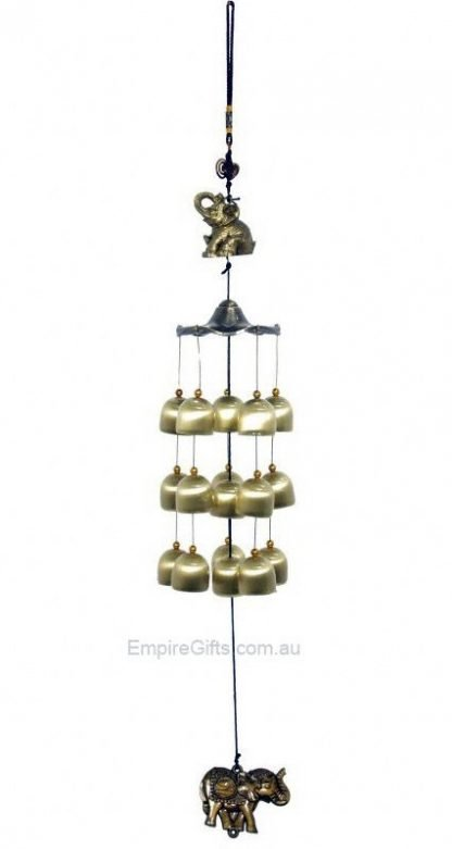 Elephant Wind Chime Brass Bells Trunk Up