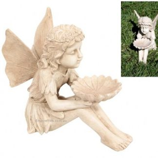 Fairy with Dish Antique Cream Garden Statue