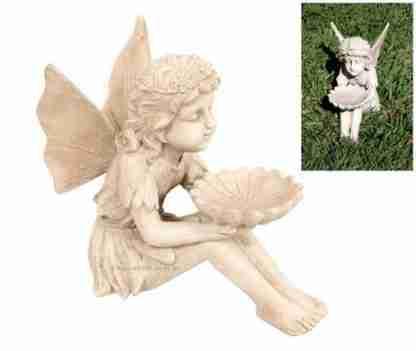 Fairy with Dish Antique Cream Garden Statue