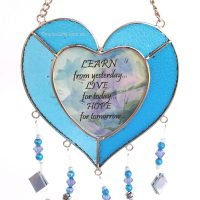 Heart Sayings Glass Wind Chime Garden Hanging Suncatcher blue