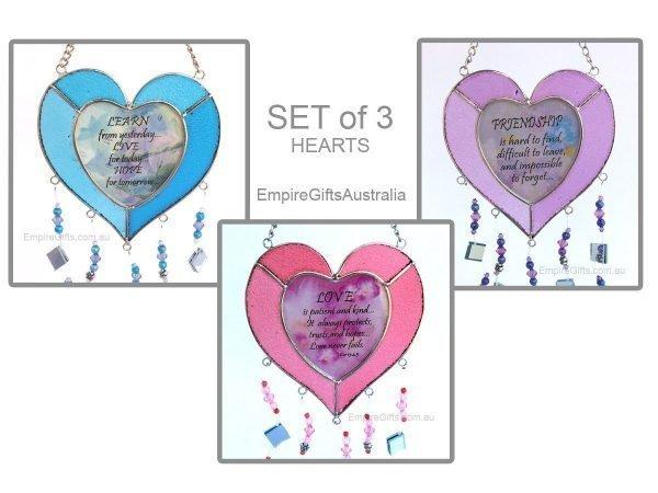 Heart Sayings Glass Wind Chime Garden Hanging Suncatcher SET of 3