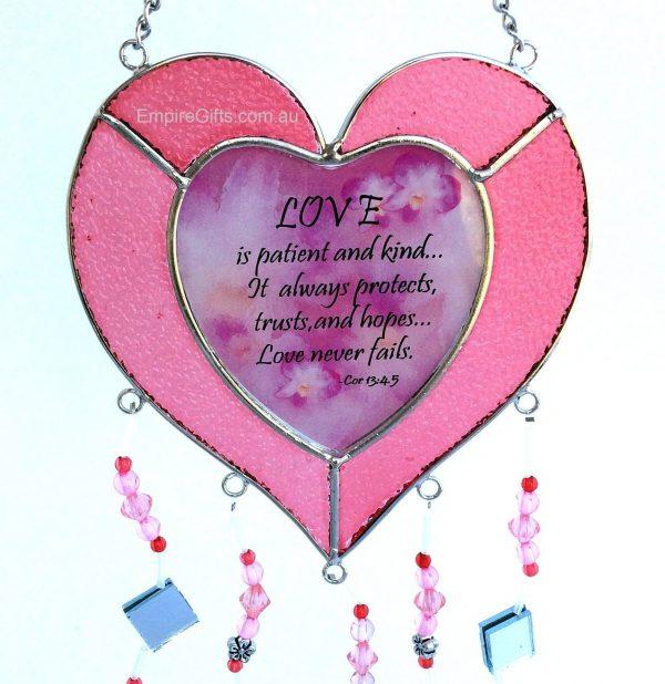 Heart Sayings Glass Wind Chime Garden Hanging Suncatcher pink