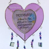Heart Sayings Glass Wind Chime Garden Hanging Suncatcher purple