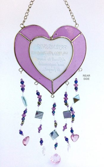 Heart Sayings Glass Wind Chime Garden Hanging Suncatcher purple