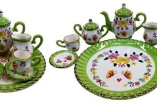 mini tea set green floral design