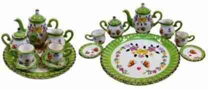 mini tea set green floral design