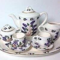 mini tea set lavender