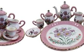 Mini Tea Set Vintage Style Pink Daisy Teapot Collectable