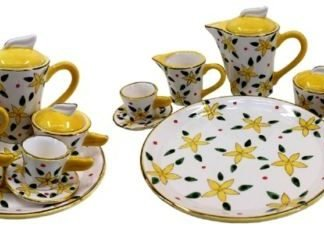 mini tea set yellow Frangipani