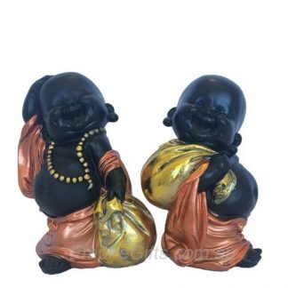 Buddha Money Monk Bronze Robed Buddha Monk Standing w Money Bag