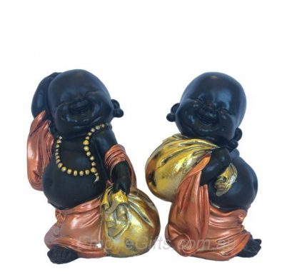 Buddha Money Monk Bronze Robed Buddha Monk Standing w Money Bag