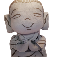 Buddha Shaped Cushion Plush with Ancient Mystic Sound 25cm grey