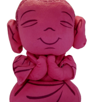 Buddha Shaped Cushion Plush with Ancient Mystic Sound 25cm pink
