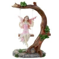 Fairy on a Swing Fairy Statue Pink
