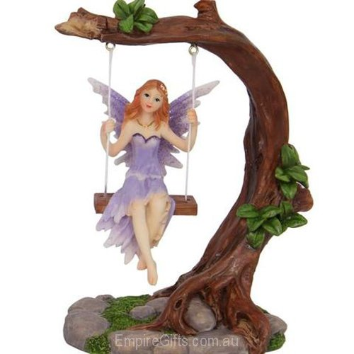 1 X Fairy On A Swing Fairy Statue Purple Empire Gifts