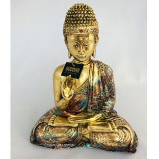 Gold Meditating Buddha Sitting in Gold Finish Feng Shui