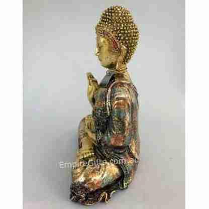 Gold Meditating Buddha Sitting in Gold Finish Feng Shui