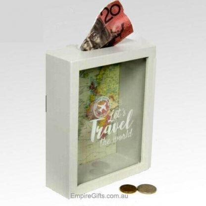 Travel Fund Wood Money Box Saving for Travel -1