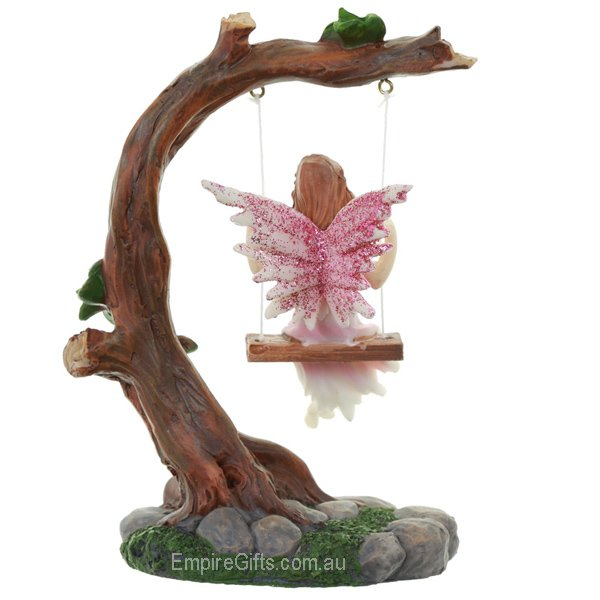 1 X Fairy On A Swing Fairy Statue Pink Empire Gifts
