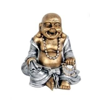 Laughing Buddha GOLD Happy Money Buddha Statue Feng Shui Enhancer