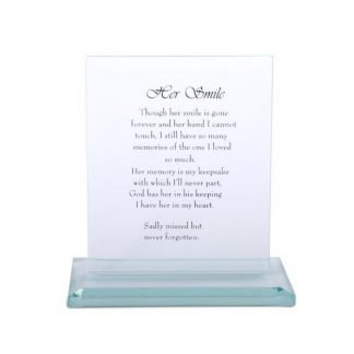 "16cm Crystal Glass Plaque with Loving ""Her Smile"" Memorial Message"