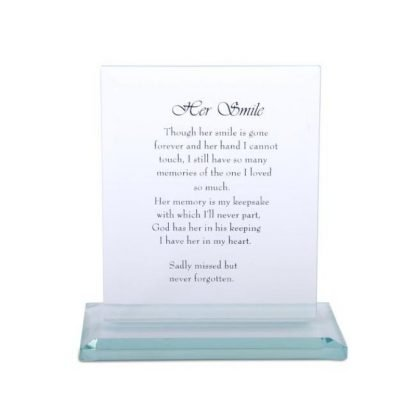 """16cm Crystal Glass Plaque with Loving """"Her Smile"""" Memorial Message"""