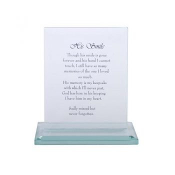 16cm Crystal Glass Plaque with Loving His Smile Memorial Message