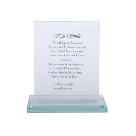"16cm Crystal Glass Plaque with Loving ""His Smile"" Memorial Message"