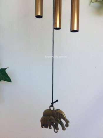 Brass Elephants & Lucky Chinese Coin Wind Chime