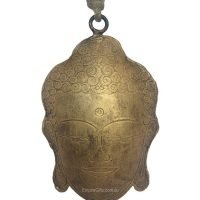 Brass Metal Hanging Buddha Head Bell with Glass Beads on Rope