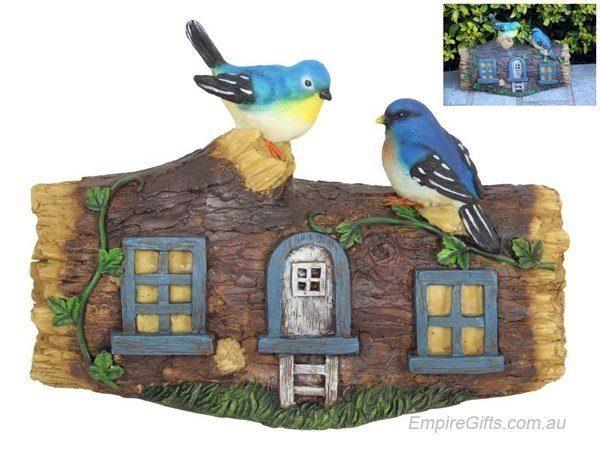 Fairy Blue Wren Tree House Ornament Garden Statue