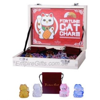Fortune Cat Charms Glass Lucky Cat