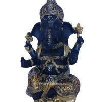 Ganesh Black and Gold Elephant Hindu God Statue #1