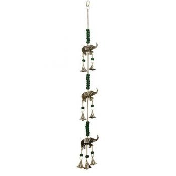 Hanging Brass Bell Wind Chime with Elephants & Beads 60cm